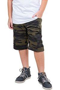 Bermuda juvenil cós c/ regulagem camuflada em sarja