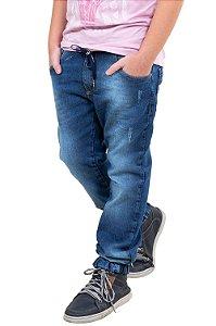 Calça juvenil jeans jogger cós c/ cadarço