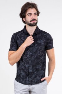 Camisa polo manga curta folhagem
