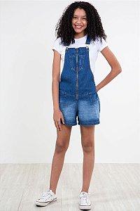 Jardineira jeans juvenil zíper frontal