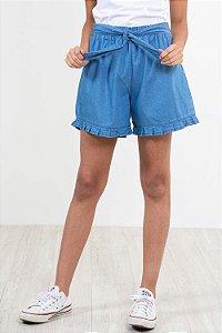 Shorts jeans juvenil barra com babado