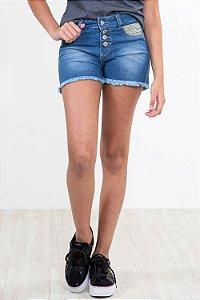 Shorts jeans juvenil barra desfiado