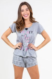 Pijama manga curta estampa coelho