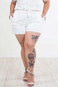Shorts cós elástico em laise plus size