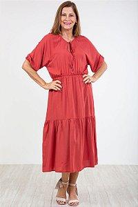 Vestido midi decote c/ amarração