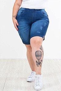 Bermuda jeans ciclista detalhe metal e puído