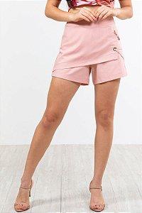 Shorts saia curto detalhe ilhós em linho