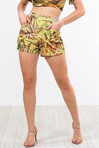 Shorts curto cós com detalhe e bolsos