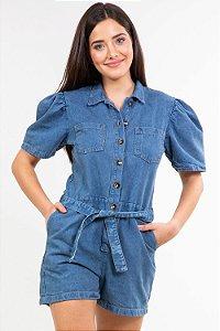 Macaquinho jeans faixa amarração