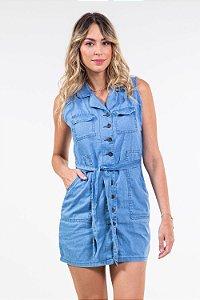 Vestido jeans s/manga colarinho c/faixa
