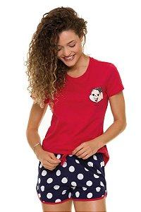 Pijama manga curta estampa turma da mônica