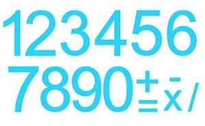 Cartela de Números c/ recorte - AZUL CLARO
