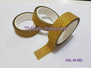 Fita Adesiva com Glitter - Dourada