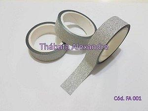 Fita Adesiva com Glitter - Prata