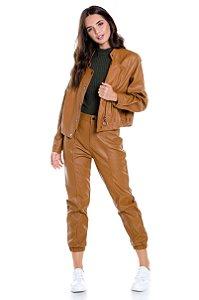 Jaqueta Leather Com Ziper e Botões