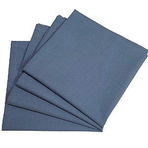 Kit 4 Guardanapos de Tecido Algodão Azul Jeans 39cmx39cm