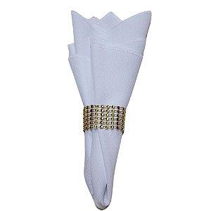 Kit 12 Guardanapos de Tecido Overloque Oxford Branco com Argola Strass Dourada