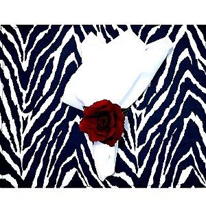Kit Mesa Posta Jogo Americano Romântico Zebra - 2 Lugares