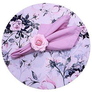 Kit Mesa Posta Capas para Sousplat Floral Vintage Rosa para 2 lugares
