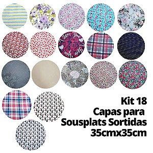 Kit 18 Capas para  Sousplats Sortidas 35cmx35cm para 1 lugar