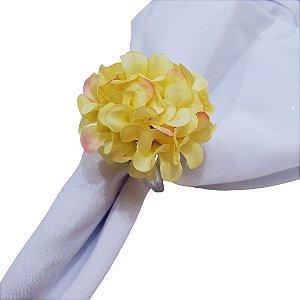 Kit 4 Porta Guardanapo Mimosa Crisântemo Amarelo Claro