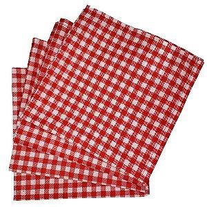 Box 20 Guardanapos de Tecido Algodão Xadrez Vermelho Branco 39cmx39cm