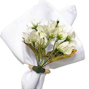 Box 16 Porta Guardanapo Ramo de Mini Orquídeas Branco Paz da Charlô