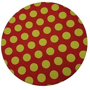 Kit 4 Capas Sousplat Algodão Poá Grande Vermelho e Dourado 35cmx35cm