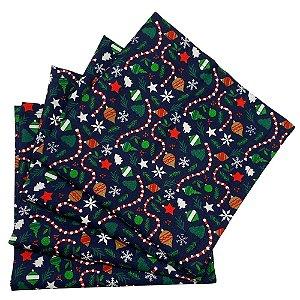 Kit 4 Guardanapos de Tecido Algodão Festa de Natal 39cmx39cm
