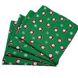 Kit 4 Guardanapos de Tecido Algodão Replica Papai Noel Verde 39cmx39cm