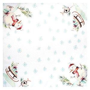 Kit 4 Guardanapos de Tecido Boneco de Neve Branco 40cmx40cm
