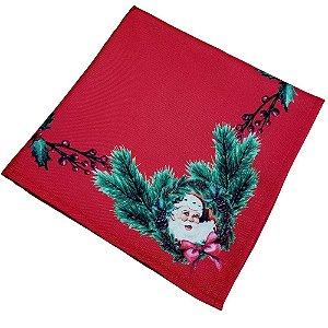 Kit 4 Guardanapos de Tecido Natal Papai Noel Vermelho 40cmx40cm