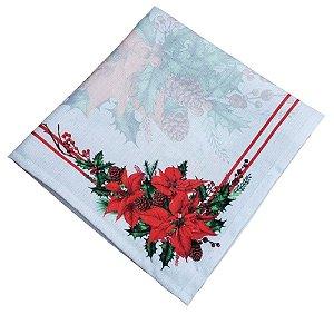 Kit 4 Guardanapos de Tecido Flor de Natal Vermelho Cinza 40cmx40cm
