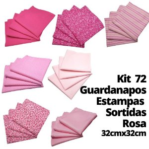 Kit 72 Guardanapos Algodão Estampas Sortidas Rosa 32cmx32xcm