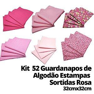 Kit 52 Guardanapos Algodão Estampas Sortidas Rosa 32cmx32xcm