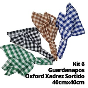 Kit 6 Guardanapos Oxford Xadrez Estampas Sortidas 40cmx40cm