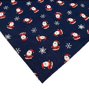 Kit 3 Guardanapos de Tecido Algodão Replica Papai Noel Azul 39cmx39cm