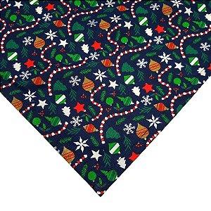 Kit 3 Guardanapos de Tecido Algodão Festa de Natal 39cmx39cm