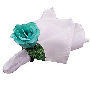 Kit 12 Guardanapos Branco 36x36 Oxford e Porta Guardanapo Botão Rosa Tiffany
