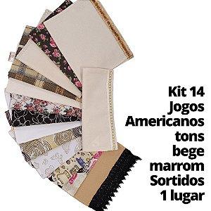 Kit 14 Jogos Americanos tons bege marrom 1 lugar