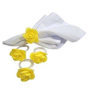 Porta Guardanapo Botão de Rosa EVA (Amarelo Confeti) - 4 unidades