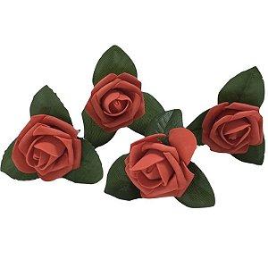 Porta Guardanapo Botão de Rosa Médio EVA (Vermelho Paixão) - 4 unidades