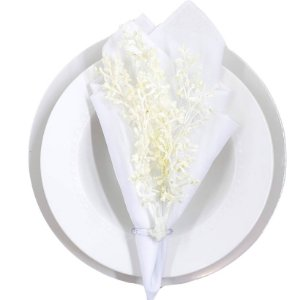 Porta Guardanapo Ramo Japonês Branco - 4 unds
