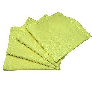 Guardanapo de Tecido Amarelo Limão 32cmx32cm - 4 unidades
