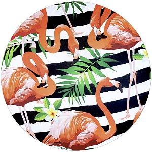 Kit 4 Capas para Sousplat Flamingo da Charlô 35cmx35cm com base mdf