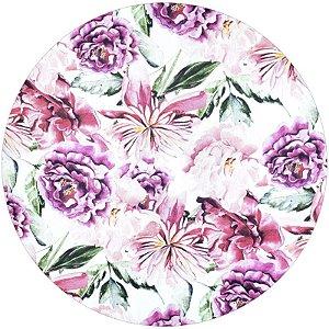 Kit 4 Capas Sousplat Floral Amour Charlô 35cmx35cm com base mdf
