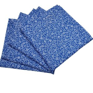 Guardanapo de Tecido Floral Amadas da Charlô Azul 32cmx32cm - 4 unidades