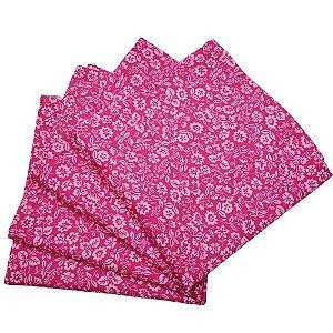 Guardanapo de Tecido Floral Amadas da Charlô Rosa Pink 32cmx32cm - 4 unidades