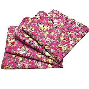 Guardanapo de Tecido Floral Menina Charlô Rosa 32cmx32cm - 4 unidades