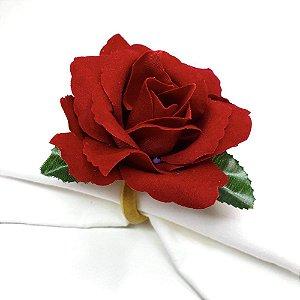 Kit 4 Porta Guardanapos Botão de Rosa Vermelho
